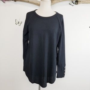 Chaser black waffle knit thermal with brass button